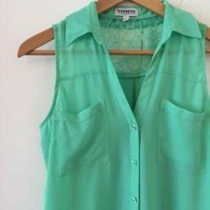 Express Mint Green Sleeveless Portofino Lace Top